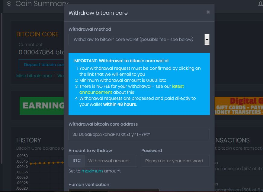 Withdraw Coinpot
